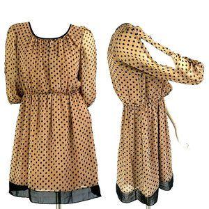 EnFocus Studio Tan Polka Dot Chiffon Blouson Dress